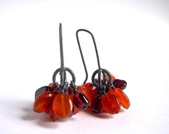 Fall Berry Earrings - Carnelian Garnet Oxidized Silver Earrings - Orange Gemstone Earrings - Carnelian Garnet Drop Earrings - Ready To Ship