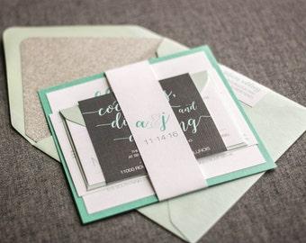 "Aqua and Silver Glitter Wedding Invitations, Calligraphy Wedding Invites, Modern Destination Wedding - ""Whimsical Calligraphy"" FP-1L-v2"