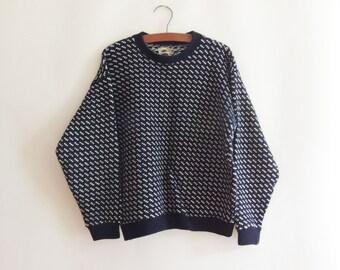 1970s LL Bean Birds-eye Wool Sweater // Vintage Sweater // Made in Norway // Vintage Fisherman Sweater // Scandinavian Sweater // Size Large