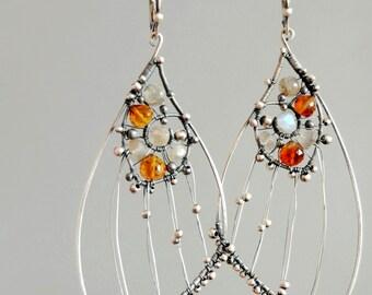 Moth earrings, Large earrings, Butterfly skeleton earrings, Butterfly wing earrings, Labradorite earrings, Insect earrings, Wild jewelry