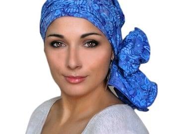 Blue White Turtle Turban Chemo Hat, Head Wrap, Alopecia Scarf, Batik Boho, Pre-tied Turban, Chemo Turban, Hat & Scarf Set 103-37