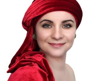 Red Velvet Turban, Head Wrap, Chemo Hat, Alopecia Scarf, Hijab, One Piece Wrap 332-08