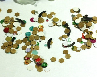 Handmade confetti - the left over paper punches - kraft mix - 1 bag