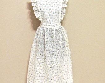 vintage ruffled eyelet dress - 1960s white cotton tie-back maxi apron dress