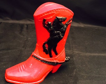 Red And Black Plastic Cowboy Boot Bank, Roy Rogers, Dale Evans, Fosta Novelty Coin Slot Bank