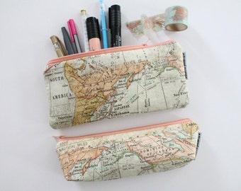 pencil pouch -- vintage map