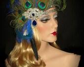 PEACOCK DIVA FLAPPER- Great Gatsby Peacock Headband, 20s Flapper Headpiece, 20s Art Deco Peacock Headband, Peacock & Rhinestone Headpiece