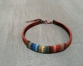 Tribal Mens Bracelet, Suede Leather Bracelet Autumn Colors Combo, Mens Friendship Bracelet Feather Charm