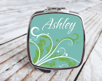 Bridesmaids Gift - Compact Mirror - Arabesque In Teal