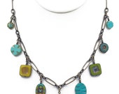 Chartruese, Turquoise, Yellow Czech Glass Dangle Necklace