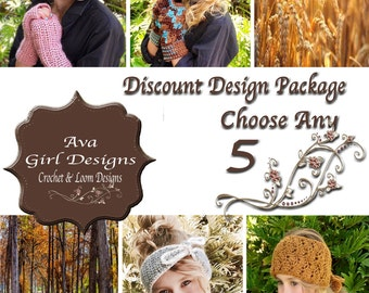 Crochet or Knifty Knitter Loom Patterns, Design Discount Package any 5, Ava Girl Designs Discount Package, Winter Crochet Patterns, Scarf