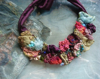 bella - a boho, gypsy choker with silk roses crochet flowers and beads
