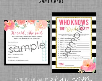 GAMES Bachelorette/Bridal/Baby Shower Sign - Kate Spade Style with Flowers - DIGITAL FILE