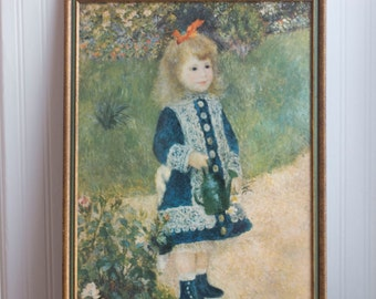 Vintage Print, Girl With Watering Can Framed Art, 1876 Pierre August Renoir Painting, Blue Gold Green French Country Home Decor