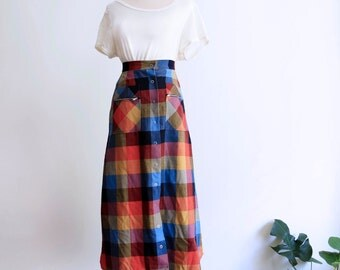 Slim long plaid skirt, festival skirt
