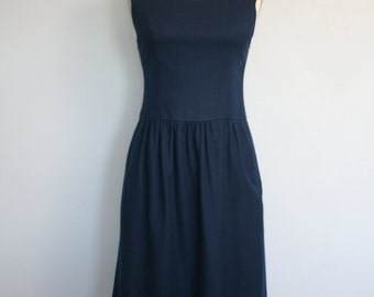 Vintage 1960s Lanz Dress / Navy Blue Wool Lanz Dress / Pinafore Dress / Wool Dress