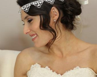 Bridal Halo - Bridal Headpiece - Crystals and Ribbon