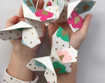 Origami Butterflies in Gold Dots Bright Flowers