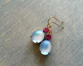 Sapphire Magenta Earrings, Blue and Pink Rhinestones in Golden Brass