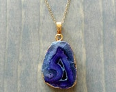 Purple Geode Necklace, Druzy Agate Crystal Slice, Gold Edged Stone Jewelry