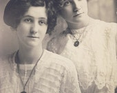 Pretty Young Women In Beautiful LACE COTTON DRESSES In Tender Pose Photo Postcard circa 1910