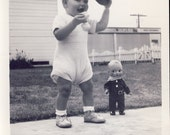Toddler Looks Like Giant Standing Next To His Favorite COWBOY WESTERN DOLL Photo 1948