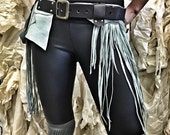 Seafoam Fringe Utility Belt / Pocket Belt / Fringe Hip Holster / Upcycled Leather / Utility Fashion