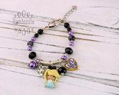 Alice in Wonderland bracelet, Alice in Wonderland jewelry, Alice clay charms, Alice bracelet