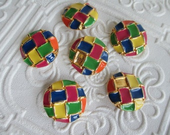 Funky Multicolored Vintage 1960s Buttons Heavyweight Metal and Enamel