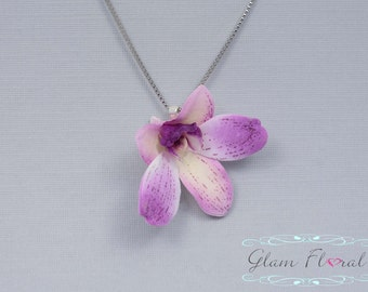 Mini Dendrobium Orchid Necklace in Lilac Lavender, Real Touch Flowers