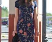 Vintage Floral Dress 90s Fitted Maxi Dress Navy Blue Bandage Bodycon Dress Persimmon Floral Dress S M