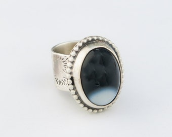 Black Onyx Wide Band Sterling Silver Ring Size 6