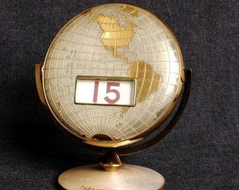 Over and over... Vintage World globe perpetual calendar. Collectible retro Tabacongo advertising desk supply. Travelers gift idea.