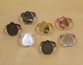20 Brass Antique Bronze/ Silver/ Gold/ Rose Gold/ White Gold/ Gun-Metal Plated Ring W/ Jagged 13x18mm/ 18x25mm Teardrop Bezel- Z5950