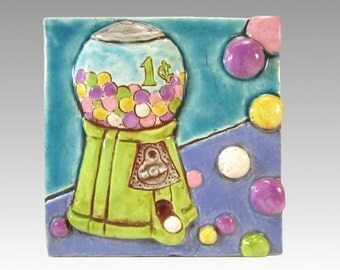 Handmade Ceramic Art Tile, RETRO GUMBALL MACHINE, 4 x 4 Handmade Tile, Wall art, Penny Candy