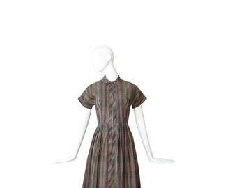 1950s Dress • 50s Plaid Day Dress • Medium M