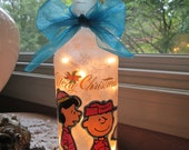 Charlie Brown,charlie brown christmas,christmas,lighted wine bottles,lighted bottle,wine bottle lamp,wine bottle lights,lamp,lighting,