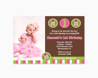 Mod Monkey Birthday Party Invitation, Pink Green White, Mod Monkey Birthday Invitation, Mod Monkey Birthday Party, Printable Invitation