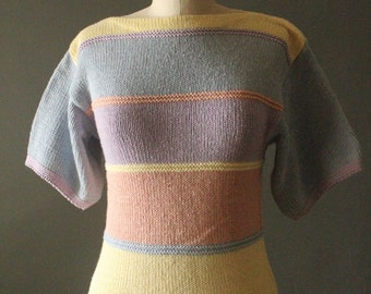 Vintage 80's Pastel Lavender, Peach, Yellow and Baby Blue Stripes Knit Short Sleeve Pullover Sweater by Rosanna, size S