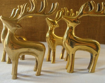 4 Vintage BRASS REINDEER Card Holder Mini Brass REINDEER Decor Christmas Reindeer Table Decor Holiday Decor Table Setting Solid Brass