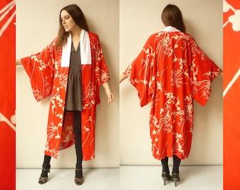 Vintage Antique Japanese Cherry Blossom Pattern Full Length Silk Kimono Robe Duster Jacket