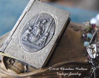 TREASURES And GEMSTONES--Antique Rosary Box Engraved French Medal Watch Snake Chain Gemstone Briolette Triple Strand NECKLACE
