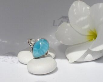 Larimarandsilver ring size 5.75, Turquoise Wave - azure Larimar drop, Swiss blue, sky blue, Caribbean blue, blue pear, handmade Larimar ring