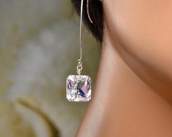 LP 1342  Princess Cut, Pale Pink Blush Quartz Earrings