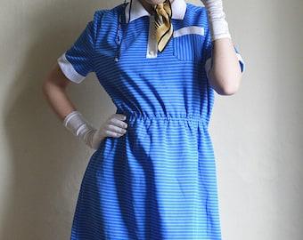 Striped Blue 70ies Summer dress Crimplene Summer dress, sundress blue short sleeve striped midi dress size S M