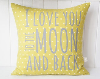 I love you to the moon and back Pillow Cover, 20x20, avacado green x