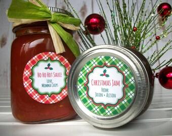 Custom Plaid Christmas canning jar labels, red & green holiday mason jar labels, christmas gift labels stickers, Christmas mason jar gifts