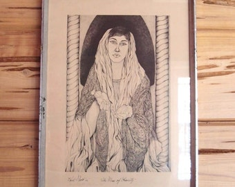 1960s Paul Nabb framed original art print Limited run lithograph The Muse of Obscurity ...signed and dated