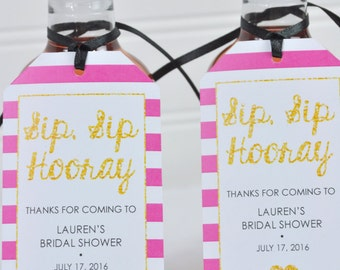 Bridal Shower Favor Tags Mini Wine Bottles , Mini Champagne Tags, Sip Sip Hooray Tags, Personalized Favor Tags, Pink & Gold - Set of 12