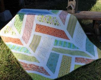Handmade Quilt - Throw Quilt - Twin Quilt - Herringbone - Homemade - Cotton
